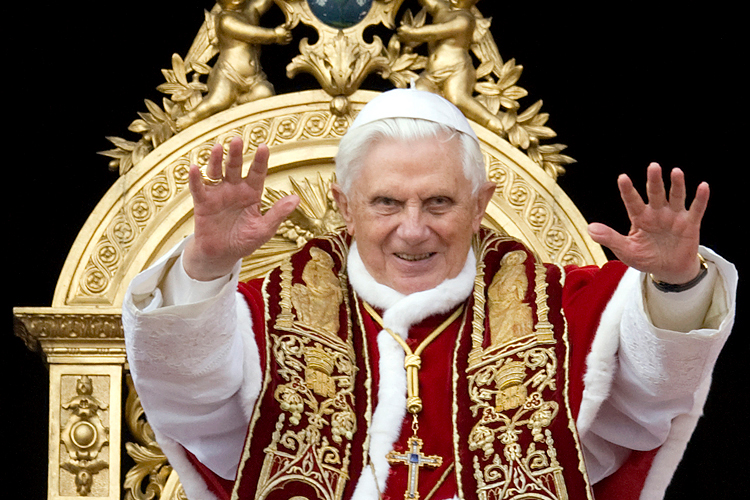 Lovely Pope Benedict XVI Blesses The Faithful As He Leads His Urbi Et Orbi At The  Vatican